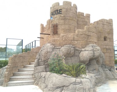 Decoración con rocas artificiales para Camping L´Aube